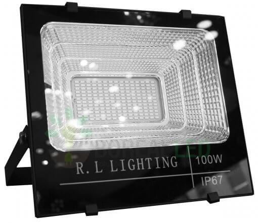 Refletor LED SMD Solar 100W IP67 6000K 120º Controle Remoto + Placa Fotovoltaica