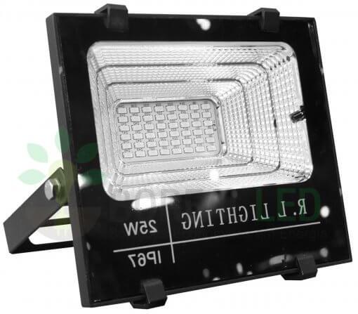 Refletor LED SMD Solar 25W IP67 6000K 120º Controle Remoto + Placa Fotovoltaica