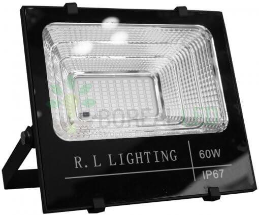 Refletor LED SMD Solar 60W IP67 6000K 120º Controle Remoto + Placa Fotovoltaica
