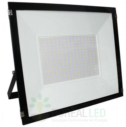 Refletor Micro LED SMD Slim 200W IP66 Fundo Branco Acabamento Preto