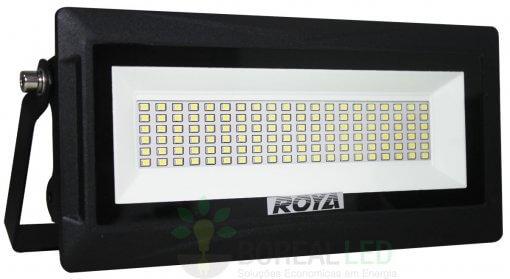 Refletor Modular Micro LED SMD Slim 50W IP66 Fundo Branco Acabamento Preto