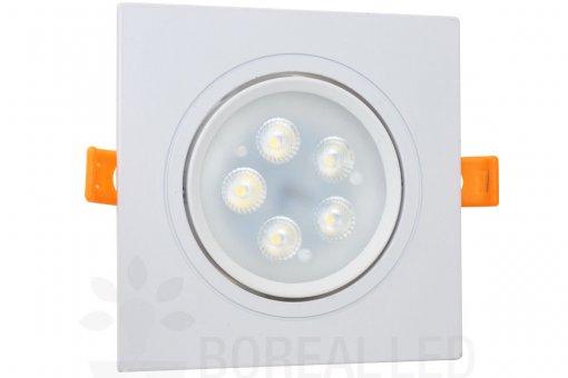 Spot Embutir LED SMD 5W 12x12cm Quadrado Borda Branca Bivolt