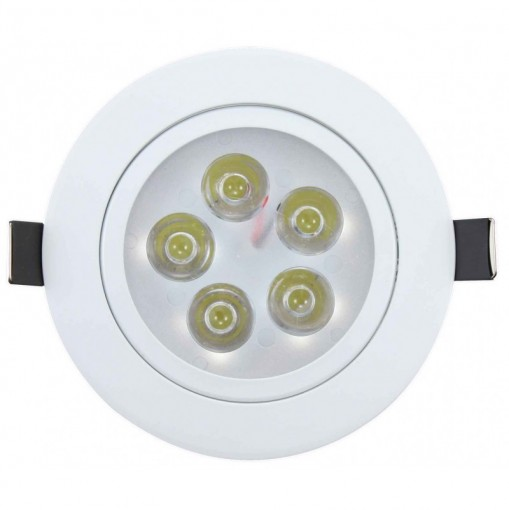 Spot LED Embutir 5W Redondo Direcionavel Branco Frio