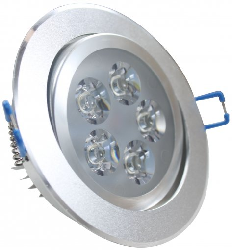 Spot Embutir LED 5W Redondo Borda Prateada Branco Frio