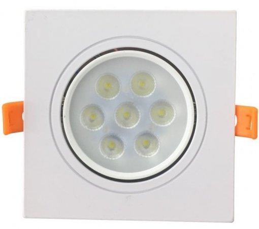 Spot Embutir LED 7W Quadrado 12X12cm Direcionavel Branco Quente