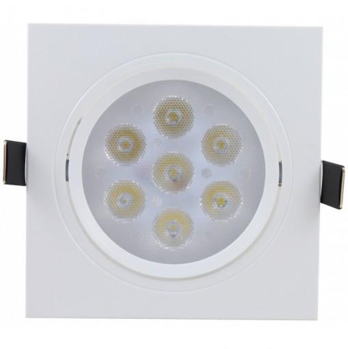 Spot de Embutir LED 7W Quadrado Borda Branca Bivolt
