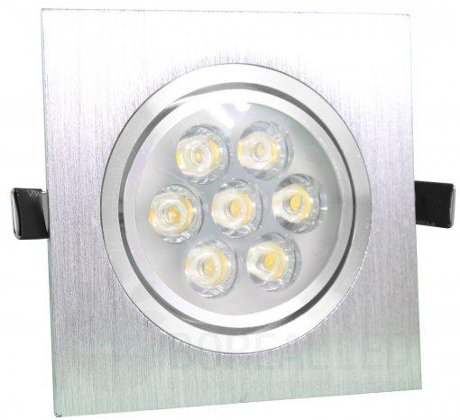 Spot de Embutir LED 7W Quadrado Borda Prata Prateado Bivolt