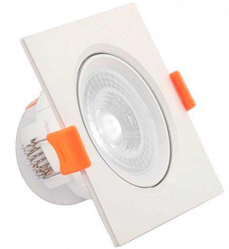Spot Downlight LED 7W Embutir Quadrado Direcionável Branco Frio