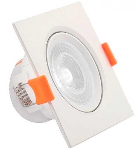 Spot Downlight LED 7W Embutir Quadrado Direcionável Luz Fria ROYA