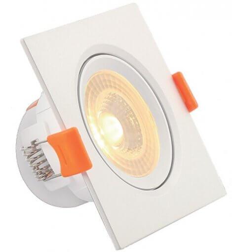 Spot Downlight LED 7W Embutir Quadrado Direcionável Luz Quente ROYA