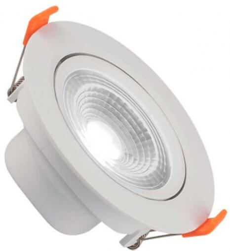 Spot Downlight LED 7W Embutir Redondo Direcionável Luz Fria ROYA