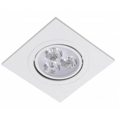 Spot Embutir LED 3W Quadrado Direcionavel Branco Quente