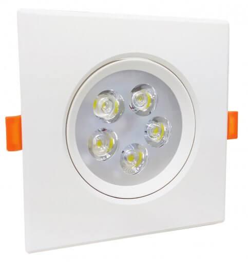 Spot Embutir LED SMD 5W Quadrado 12X12cm Direcionavel Branco Quente