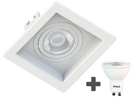 Spot Embutir Recuado Quadrado 10X10cm + Dicroica MR16 6,5W GU10 3000K