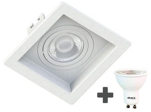 Spot Embutir Recuado Quadrado 10X10cm + Dicroica MR16 6,5W GU10 6500K