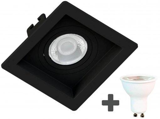 Spot Embutir Recuado Quadrado 10X10cm Preto + Dicroica MR16 6,5W GU10 6500K