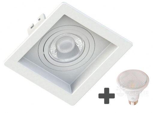 Spot Embutir Recuado Quadrado 13x13cm + Lâmpada PAR20 LED 7W E27 3000K