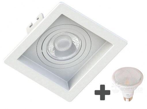 Spot Embutir Recuado Quadrado 13x13cm + Lâmpada PAR20 LED 7W E27 4000k