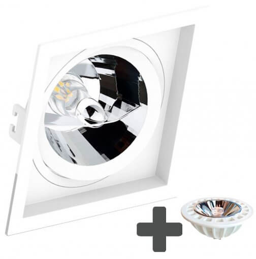Spot Embutir Recuado Quadrado 17x17cm + Lâmpada AR111 LED 11W GU10 3000K