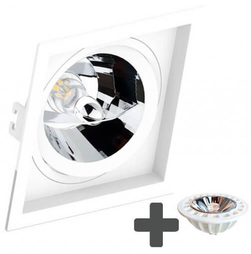Spot Embutir Recuado Quadrado 17x17cm + Lâmpada AR111 LED 11W GU10 6500K