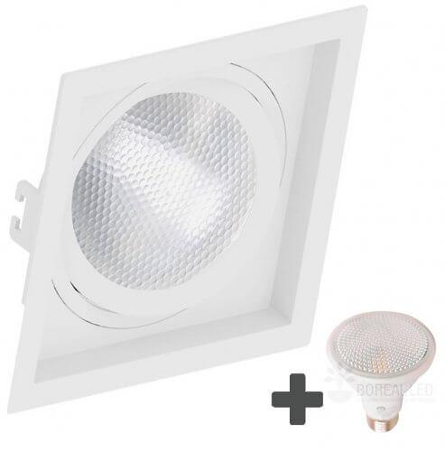 Spot Embutir Recuado Quadrado 17x17cm + Lâmpada PAR30 LED 11W E27 3000K