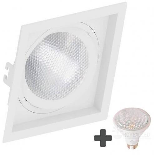 Spot Embutir Recuado Quadrado 17x17cm + Lâmpada PAR30 LED 11W E27 6500k