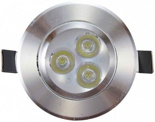 Spot LED 3W Embutir Redondo Direcionável Prateado Prata Branco Quente