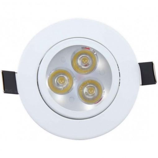 Spot de Embutir LED 3W Redondo Borda Branca CTB