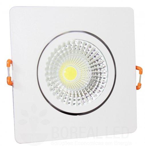 Spot LED COB Embutir 3W Quadrado Branco Frio