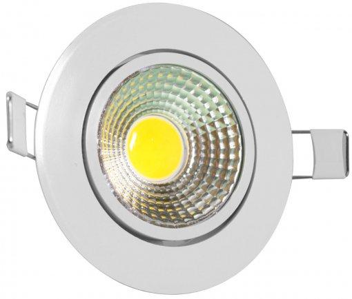 Spot LED COB Redondo 3W 8,3X8,3cm Direcionável Branco Quente A.XU