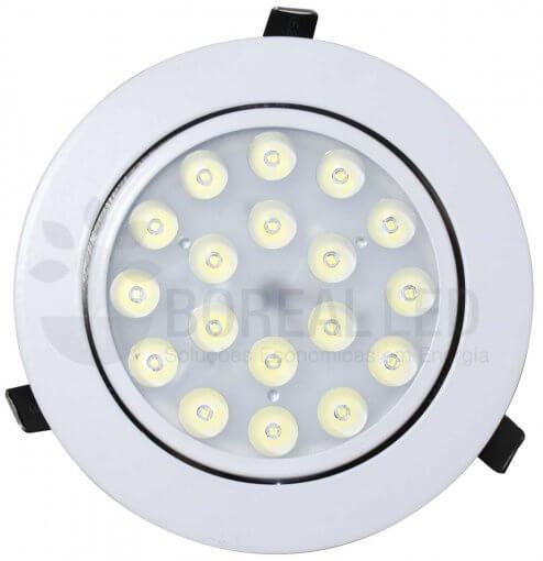 Spot LED Embutir Redondo 18W Luz Branca 6500K Bivolt Direcionável