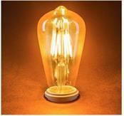 Lâmpada LED Filamento ST64 6W E27 Thomas Edison Âmbar 2200K Bivolt