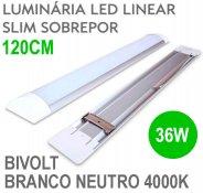 Imagem - Lâmpada LED Linear Tubular 36W 120cm Sobrepor Luz Branco Neutro 4000K cód: LINEAR-120CM-BN
