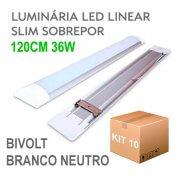 Imagem - Kit 10 Lâmpada LED Linear Tubular 36W 120cm Sobrepor Luz Branco Neutro 4000K cód: KIT10LINEAR-120CM-BN