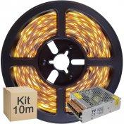Imagem - Kit Fita LED 2835 10 metros 2x5mt IP20 Branco Quente Fonte Chaveada 5A cód: KIT10M2835BQFTCH