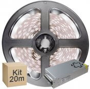 Imagem - Kit Fita LED 2835 20 metros 4x5mt IP20 Branco Frio Fonte Chaveada 10A cód: KIT20M2835BFFTCH