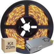 Imagem - Kit Fita LED 2835 20 metros 4x5mt IP20 Branco Quente Fonte Chaveada 10A cód: KIT20M2835BQFTCH