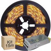 Imagem - Kit Fita LED 5050 15 metros 3x5mt IP20 Branco Quente Fonte Chaveada 15A cód: KIT15M5050BQFTCH