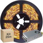 Imagem - Kit Fita LED 5050 25 metros 5x5mt IP20 Branco Quente Fonte Chaveada 30A cód: KIT25M5050BQFTCH