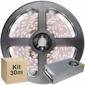Imagem - Kit Fita LED 5050 30 metros 6x5mt IP20 Branco Frio Fonte Chaveada 30A cód: KIT30M5050BFFTCH