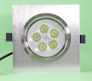 Spot de Embutir LED 5W Quadrado Borda Prata Prateado Bivolt