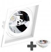 Imagem - Spot Embutir Recuado Quadrado 17x17cm + Lâmpada AR111 LED 11W GU10 6500K cód: SE-330-1064-AR111-LED-11W-BF