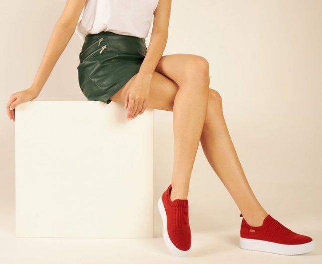Tênis Slip On Feminino Em Knit Ana Capri C30196