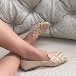Imagem - Loafer Feminino Bico quadrado Bordado Com Detalhes Dourado Valentina 360089 cód: 019772053