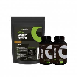 Imagem - Kit 100% Whey Protein (900g) + BCAA (120caps) + Creatina (100g) - BP Nutrition cód: 961