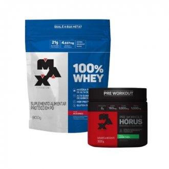 Imagem - Kit 100% Whey Protein (900g) + Hórus Pre Workout (300g) - Max Titanium cód: 1055