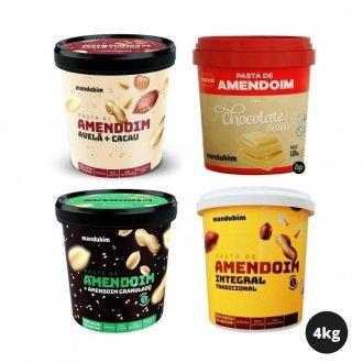 Imagem - Kit Degustação com 4 Pastas de Amendoim (1kg) (Total: 4kg) - Mandubim cód: 984
