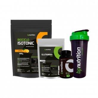 Imagem - Kit Isotonic Biociclo (900g) + Glutamina (500g) + Creatina (100g) + Coqueteleira - BP Nutrition cód: 977