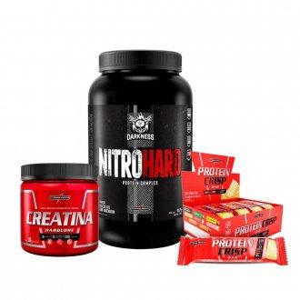Imagem - Kit Nitro Hard (907g) + Creatina (300g) + Protein Crisp Bar (caixa) - Integralmédica cód: 958