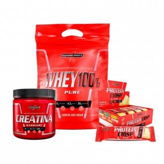 Imagem - Kit Super Whey 100% (907g) + Creatina (300g) + Protein Crisp Bar (caixa) - Integralmédica cód: 957